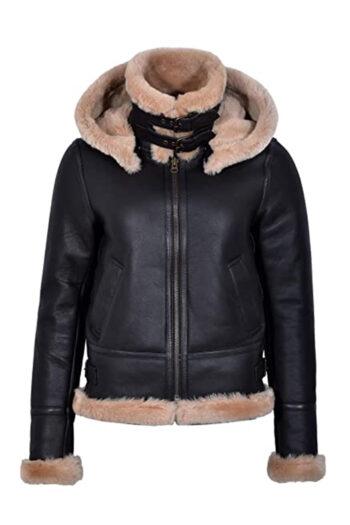 Womens Hoodie Aviator B3 Bomber Brown Shearling Leather Jacket