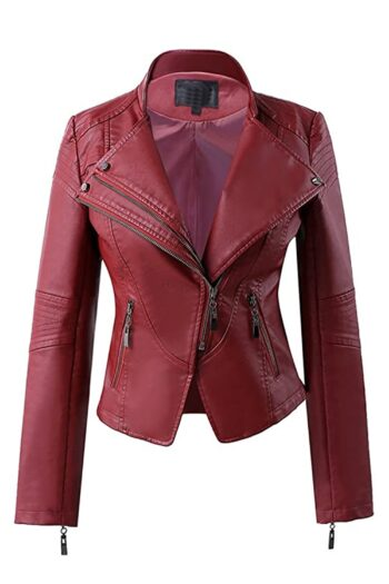 Womens Maroon Biker Motorcycle Leather Jacket