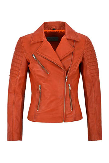 Women's Waxed Red Biker Motorcycle Sheepskin Leather Jacket