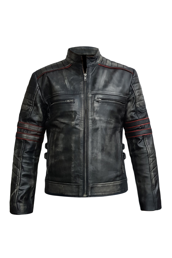 Men's Ruboff Skull Red Pippin Distressed Vintage Genuine Leather Jacket (1)
