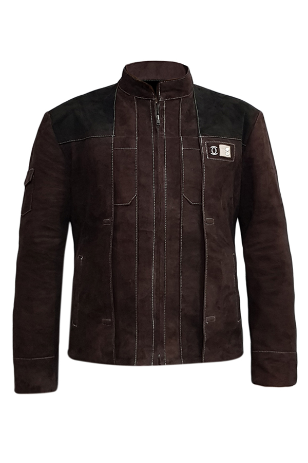 Mens White Stitched Brown Genuine Suede Leather Jacket (1)