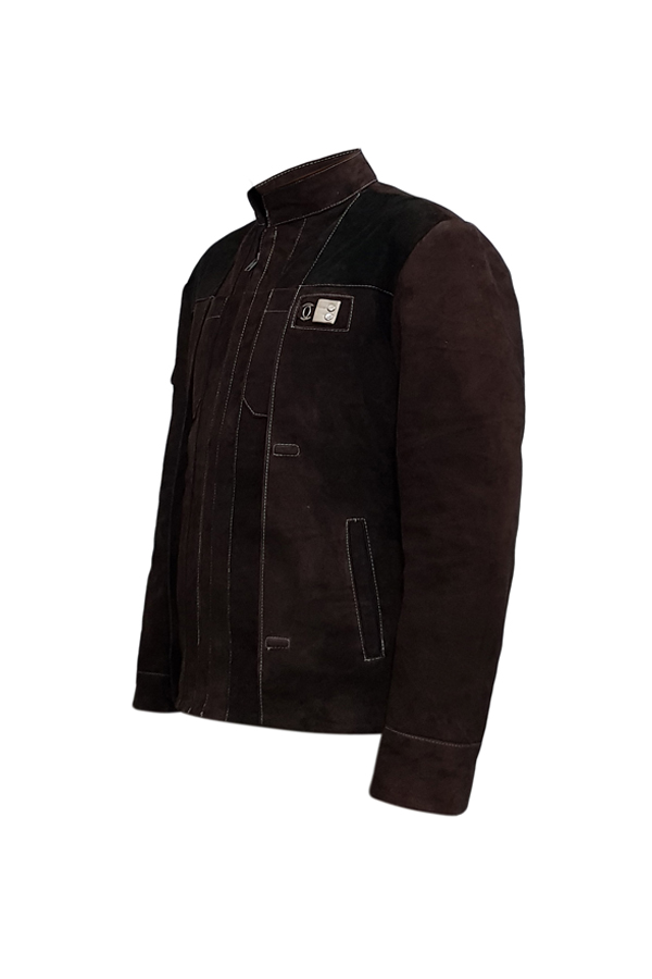 Mens White Stitched Brown Genuine Suede Leather Jacket